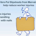 Photo showing that fibre-pul slipsheets from Marvatex reduce worker injuries because they weight less than wooden pallets and they don't have nails and splinters