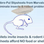 Photo showing that fibre-pul slipsheets from Marvatex eliminate insects and rodent problems because they provide no food or shelter for critters unlike wooden pallets